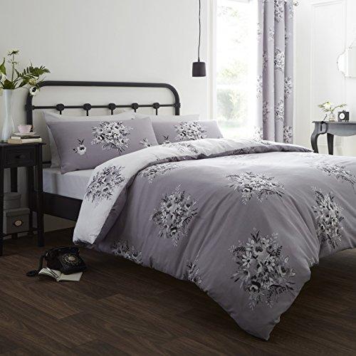 Catherine Lansfield Floral Bouquet - Funda nórdica y funda de almohada cama, 220 x 180 cm, color gris
