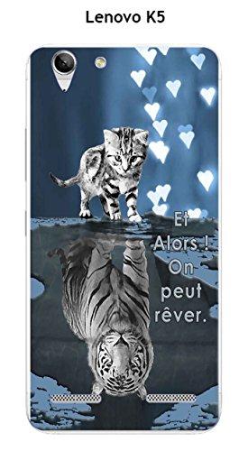 Carcasa de gel de poliuretano termoplástico flexible para Lenovo K5, diseño de gato y tigre blanco, fondo azul y negro