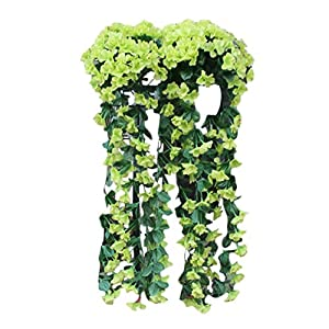Youmymine Artificial Flowers Violet Flower Wall Wisteria Basket Silk Orchid Hanging Flowers Bouquet Wedding Home Decoration (Green)