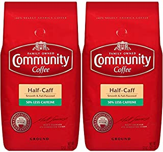 Community Coffee Half Caff Medium Dark Roast Premium Ground 32 Oz Bag (2 Pack), Full Body Smooth Full Flavored, 100% Select Arabica Coffee Beans