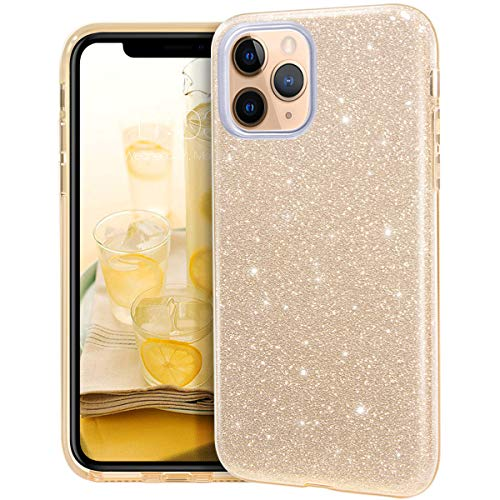 MATEPROX iPhone 11 Pro Max Hülle Klar Crystal Glitter Glänzende Funkeln Bling Süß Dünn Slim Mädchen Hülle für iPhone 11 Pro Max 6.5 inch(Gold)