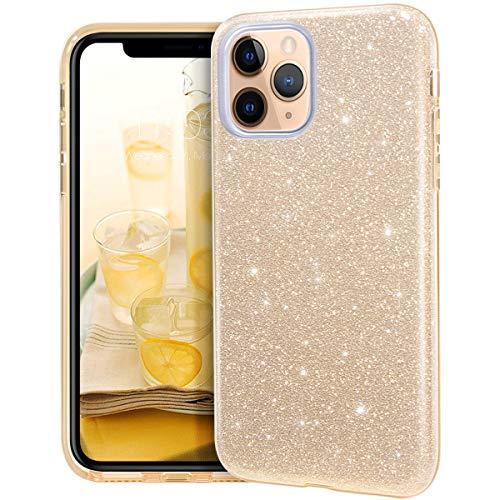 MATEPROX iPhone 11 Pro Hülle Klar Crystal Glitter Glänzende Funkeln Bling Süß Dünn Slim Mädchen Hülle für iPhone 11 Pro 5.8 inch(Gold)