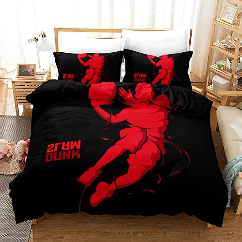 Duvet Cover Set Double (78.7x78.7 inch) Red basketball player Bedding Printed Ultra Soft Hypoallergenic Microfiber with Zipper Closure + 2 Pillowcases 20x29.5 inch