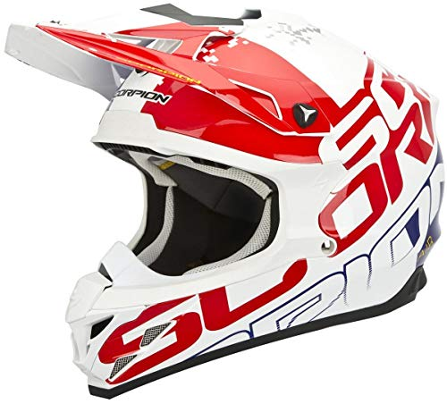 Scorpion VX-15 Evo Air Grid Crosshelm XS (53/54) Weiß/Rot/Blau