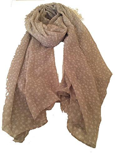 Pamper Yourself Now grau mit weiß kleinen Sterndesign Langen Schal -Grey with White small Star Design Long Scarf