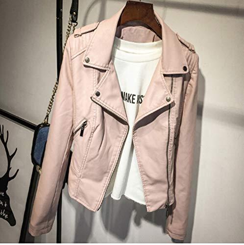 YHXMG Damen Jacke Lederjacke Damen Winter- und HerbstmantelFarbe Reißverschluss Oberbekleidung Jacke, Pink, XL