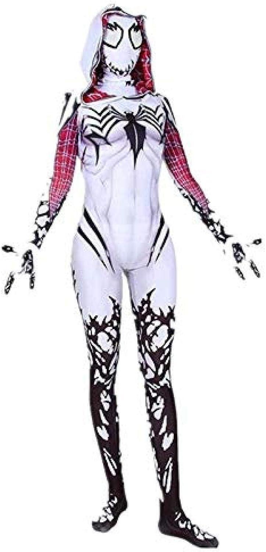 Adegk Hooded Spiderman Siamese Strumpfhose Kostüm Halloween Cosplay Requisiten Weiblich (Farbe  Wei Gre  L),M