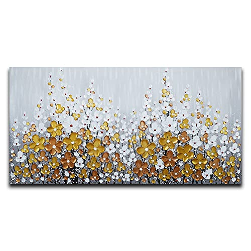 Yika Art, 3D Paintings Modern Abstract Oil Painting Hand Painted On Canvas Abstract Artwork Picture Wall Decoration for living room -- Golden White Flowers Wall Art--24X48 Inch