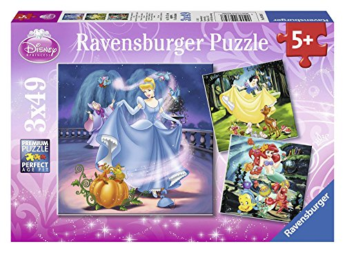 Ravensburger Puzzle 3 x 49 piezas, Disney Princess Color rosa 5+ 9339