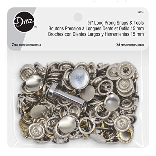 Dritz 5∕8' Long Prong Snaps & Tools Snaps, 5/8', 36 Sets, Silver
