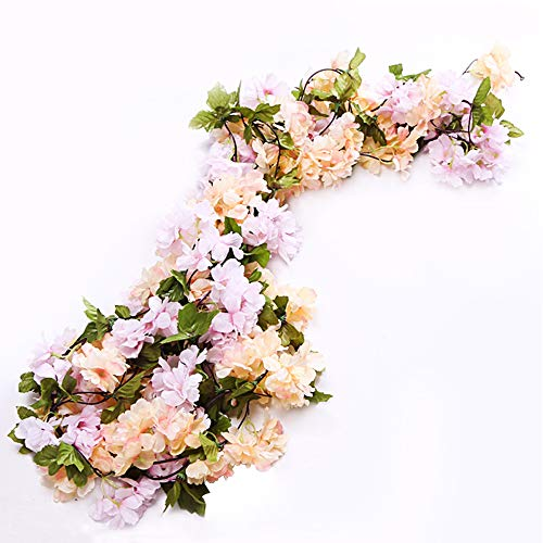 Li Hua Cat Rose Garland Artificial Rose Vine with Green Leaves 63 Inch Pack of 3 Flower Garland for Home Wedding Decoration (yh-Champagne)