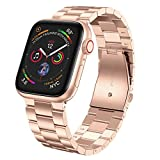 LeekaoWee Compatible con Apple Watch Correa 38mm 40mm 42mm 44mm, Metal Acero Inoxidable Correa de Repuesto Compatible con iWatch Series 5 4 3 2 1 (38/40mm, Oro Rosa)