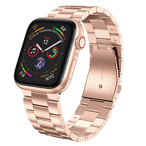 LeekaoWee Compatible con Apple Watch Correa 38mm 40mm 42mm 44mm, Metal Acero Inoxidable Correa de Repuesto Compatible con iWatch Series 5 4 3 2 1 (42/44mm, Oro Rosa)