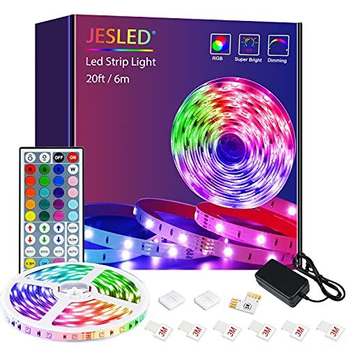 Striscia LED, Strisce LED, JESLED 6m(1*6m) RGB SMD 5050 con 44 Tasti Telecomando, 20 Colori 8 Modalità e 6 Opzioni DIY, Luci Colorate per Decorazioni, Cucina, Bar, Festa
