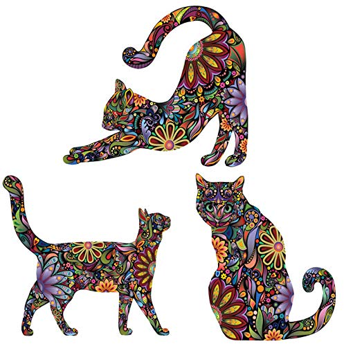 Maydahui Cat Wall Stickers Unique Colorful Mandala Flower Pattern Design Decals (Set of 3 Pieces)Lovely Animals Wall Decal Art Decor for Kids Room Living Room House Decoration