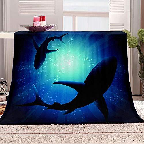 LOVEXOO Mantas de Cama de Franela tiburón 130x150 cm Manta de impresión 3D para sofá, Manta de Lana, sábanas, Calor y Aislamiento, Camping