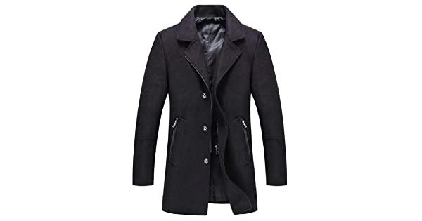 ONTBYB Mens Classic Notched Collar Button Front Wool Blend Midi Pea Coats