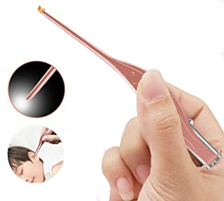 LEDライト付き耳かき ピンセット 耳掃除 子供用 極細先端 ステンレス製 ピンセットタイプ 光棒 はっきり見える 電池付き (ローズゴールド)