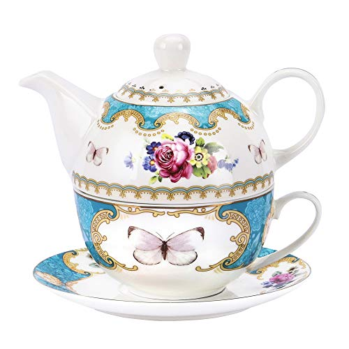 fanquare Juego de Té para Una Persona con Flores Rosas Vintage, Juego de Tetera con Taza de Café y Platillo de Porcelana Turquesa