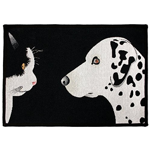 Park B. Smith PB Paws & Co. Best Friends Tapestry Indoor/Outdoor Pet Mat Rug, 19 x 27, Black/White