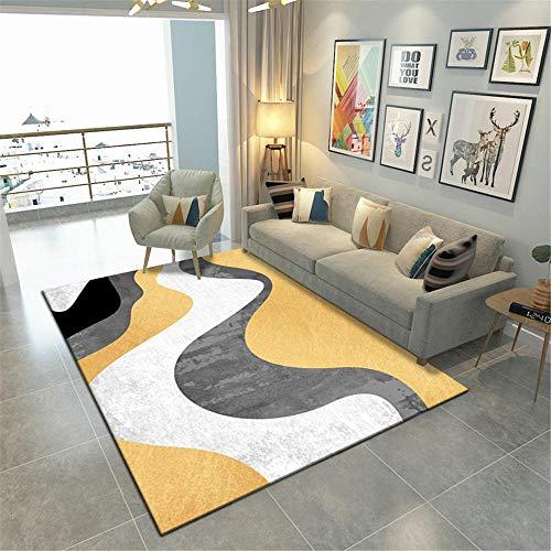 Balkon Teppich Wasserfest Wellenmuster Kinder weichen und pflegeleichten Teppich Schlafzimmer Wohnzimmer Teppich Auslegware Antirutschmatte Teppich gelb 50 x 80 cm