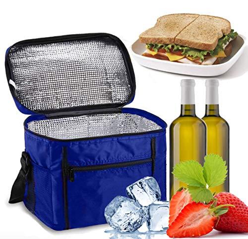 Sinwind Kühltasche Faltbar, Picknicktasche Kühltasche Thermotasche Klein Lsoliertasche Lunch Kühltasche Eistasche Lunch Tasche Kühlbox 10L für Picknick (Blau)