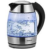 Monzana Wasserkocher Teekocher Edelstahl Kocher Glas LED BPA frei kabellos 1,8 Liter 2200 Watt 360°...