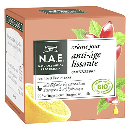 N.A.E. - Crème Visage Jour Anti-Rides - Certifiée Bio - Huile d'Eglantier Bio et Extrait d'Ecorce d'Orange Bio - 98% d'ingrédients d'origine naturelle - Pot de 50 ml
