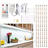 Under Counter Light, Dimmable LED Under Cabinet Lighting, 6 PCS LED Strip Light Bars with Remote Control for Kitchen,Shelf,Pantry,Showcase,Desk,Cupboard 6000K White, Timing, 16W 1500LM,9.8 ft