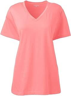 Lands' End Women's Relaxed Supima Cotton Short Sleeve V-Neck T-Shirt