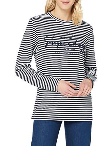 Superdry Damen Stripe Graphic Nyc Top T Shirt, Nautical Navy Stripe, 44 EU
