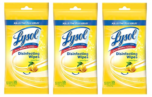 Lysol Disinfecting Wipes to-Go Pack, Lemon Scent, 15 ct (Pack of 3)