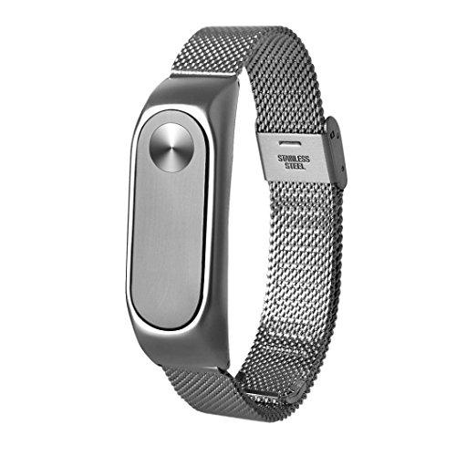STRIR para Xiaomi MI Banda 2, Moda de Acero Inoxidable Ligero Correa de Reloj (Silver)