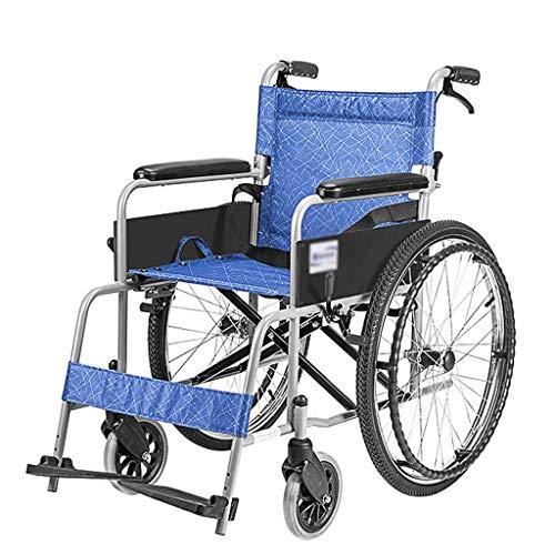 MMJC Selbstfahrender Rollstuhl, Leichter manueller Rollstuhl, Handbremse vorn und hinten, 5 Sekunden, schnell Faltbare Vollgummireifen, Oxford-Stoff