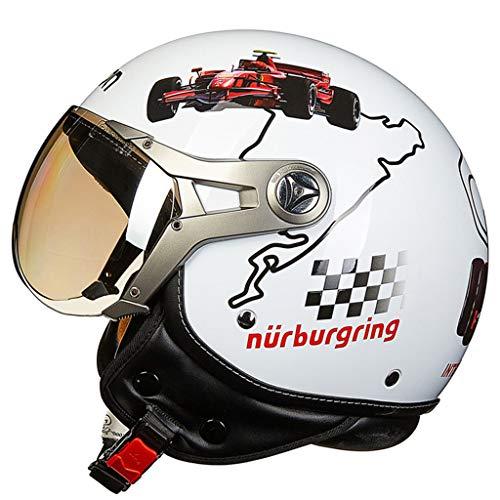 Jie KE Motorfietshelm, uniseks retro imitatie-piloot-helm, ademend, persoonlijkheid voor mannen en vrouwen