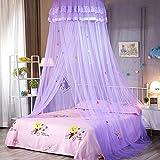 SADA72 Mosquitera para cama con dosel y encaje con encaje elegante con volantes para niñas y bebés (morado)