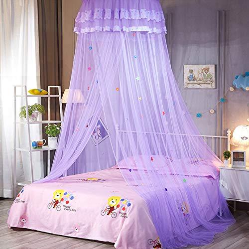 SADA72 Betthimmel Betthimmel Moskitonetz für Bett, Spitze Kuppelnetz Bettwäsche mit eleganter Rüschen Spitze für Mädchen und Baby, violett, Free Size