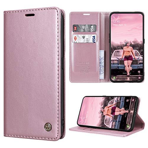 RuiPower Kompatibel für Samsung Galaxy A80 Hülle Premium Leder PU Handyhülle Flip Hülle Wallet Lederhülle Klapphülle Klappbar Silikon Bumper Schutzhülle für Samsung Galaxy A80 Tasche - Rose Gold