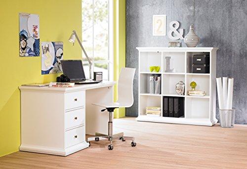 moebel-guenstig24.de Büromöbel Set Paris Bürotisch Regal Landhausstil Landwood Schubladen weiß