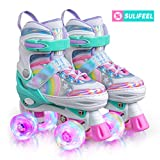 SULIFEEL Rainbow Unicorn 4 Size Adjustable Light up Roller Skates for Girls Boys for Kids - Small(10C-13C US)