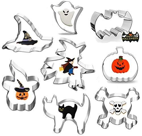 ZOEON Moldes para Galletas de Halloween, Juego de 8 Cortadores de Galletas de Acero Inoxidable Incluyen Brujas, Fantasmas, Calabazas y Más