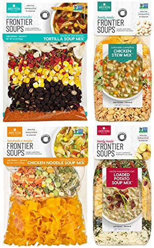 Frontier Soups Favorites Variety Pack: South of the Border Tortilla, Connecticut Cottage Chicken Noodle, Colorado Campfire Chicken Stew and Rocky Mountain Trail Loaded Potato.