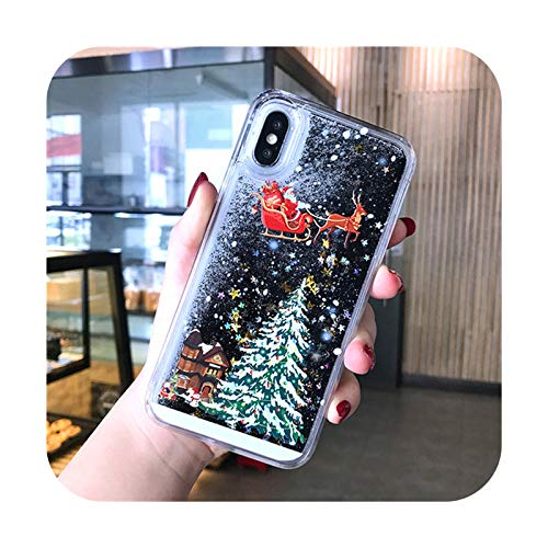Caja líquida de arena movediza con purpurina para iPhone 12 11Pro Max 8 7 6 Plus X XR XS Cartoon Santa Claus Elk Hard Back Cover-T1-para iPhone 6 6S Plus