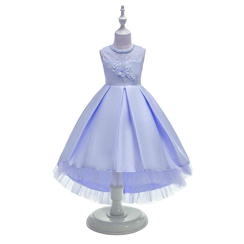 ガールズドレス 子供ドレス ワンピース レース 女の子 花 ピアノ 発表会 結婚式 入園式 不規則な裾 パーディー
