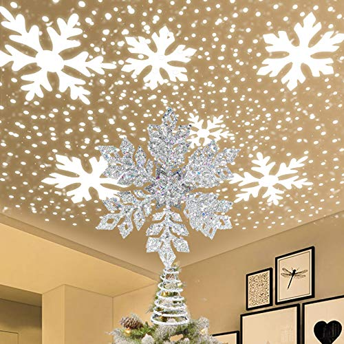 IIDEE Christmas Tree Topper, Metal Glittery Silver Snow Tree Topper with 3D Rotating Snowflake LED Projector for Xmas Holiday Party Gift Décor