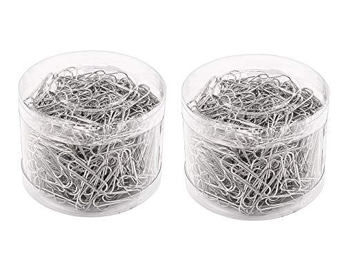 BaiJ Clips de Oficina,400 Piezas Clips de Papel de Niquelados Metal Aguja de Papel para Oficina Escuela y Organización de Documentos Personales 29 mm Galvanizado