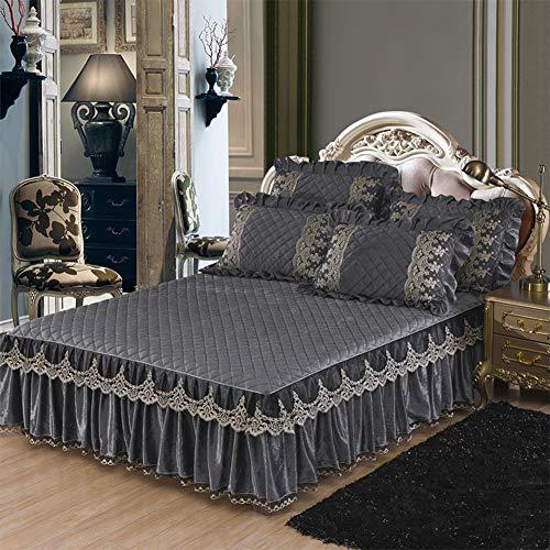 Spitze Bett Rock, Plüsch Bett Volant Tagesdecke Mit rüschen Gesteppter Faltenresistent und ausbleichen beständig Hotel qualität-grau 180x220cm/71x87inch
