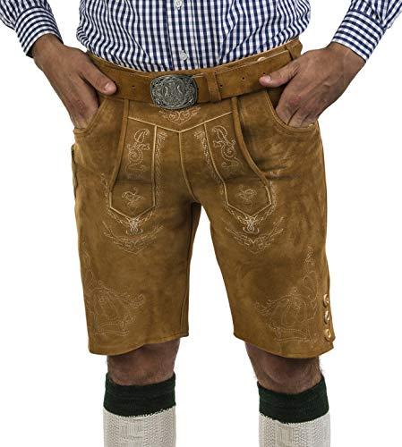 Herren Lederhose Wiesnjäger mit Trachtengürtel - Herren Trachtenlederhose Oktoberfest mit Gürtel - Trachtenhose kurz Gürtel (52, Wildeiche)