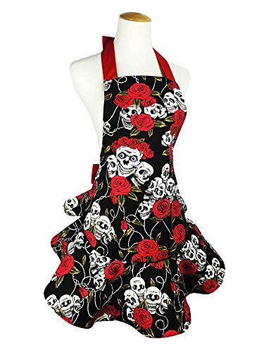 TLY Lovely Black Retro Floral Skull Aprons Cotton Canvas Cooking Salon Pinafore Apron Dress Halloween