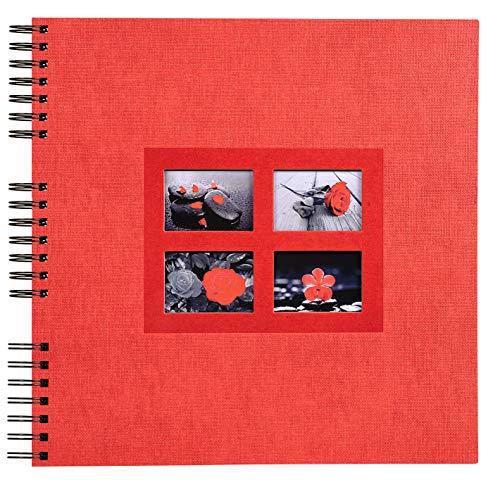 Exacompta - Réf. 16841E - Album Photos à Spirales Passion rouge - 360 photos - 60 Pages Noires - Format 32 x 32 cm - Album déco papier couverture effet bi-matière rouge